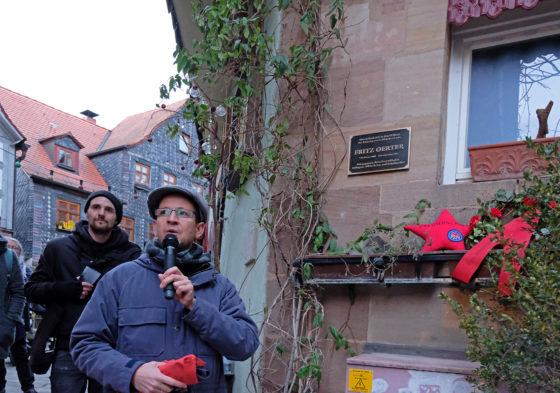 Enthüllung der Gedenktafel zu Ehren Fritz Oerter, Feb. 2019