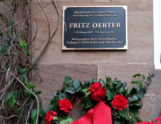 Gedenktafel: Fritz Oerter, 1869 - 1935